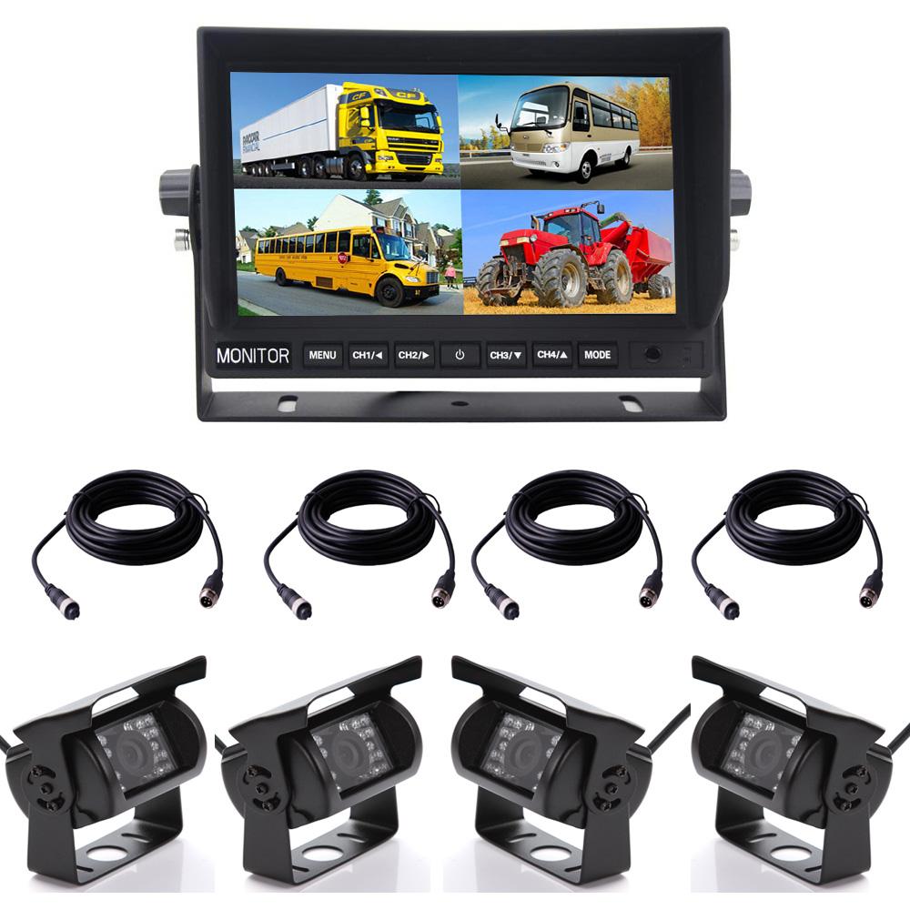 "4Pin Rückfahrkamera x4 7/"" LCD 4CH Split Monitor Auto Rückansicht System 12V//24V"